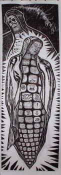 """Virgen del Maiz y la Pinche Vieja de Monsanto / The Corn Virgin and Monsanto's Hag."" by Hector Duarte. 40x120'' Woodcut, Published at Hoofprint in 2016"