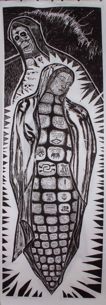 """Virgen del Maiz y la Pinche Vieja de Monsanto / The Corn Virgin and Monsanto's Hag."" by Hector Duarte. 40x120'' Woodcut, Published at Hoofprint in 2016"