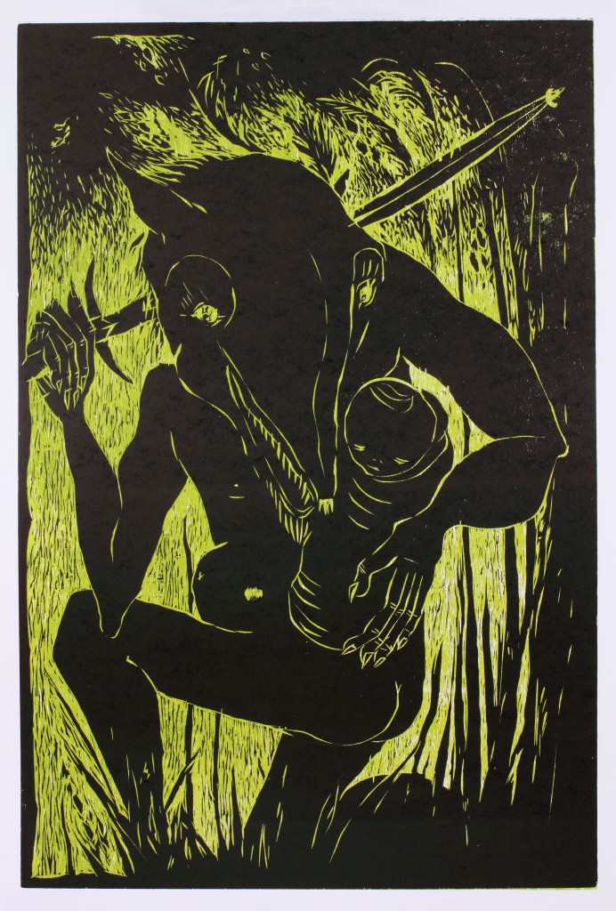 """""""Coyote's Prize"""" by Liz Born 24x36"""" Woodcut, Published at Hoofprint in 2012"""