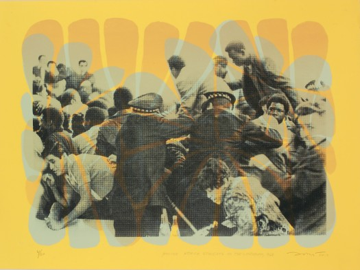 """Police Attack Students in the Lunchroom, 1968"" by Nicole Marroquin. 18x24'' screenprint, Printed at Hoofprint in 2017"