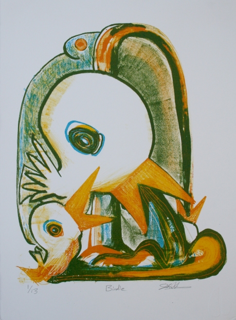 """Birdie"" by John DiDomenico. 11x15'' three-color lithograph, limited edition of 13, 2014. $250."
