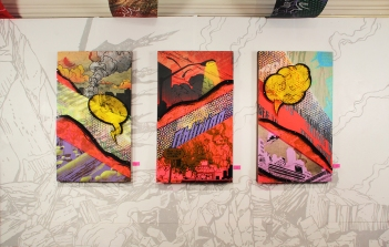 """Understanding Oblivion"" triptych by Aaron Coleman, installation view."