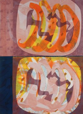 """""""Ziti"""" by Katherine Perryman. 31x42'' Monotype mounted on panel , Published at Hoofprint in 2016"""