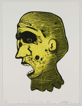 """Frankie Green Eyes,"" by John DiDomenico. 20x26'' Intaglio wiped woodcut, limited edition of 8. $200."