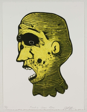 """""""Frankie Green Eyes,"""" by John DiDomenico. 20x26'' Intaglio wiped woodcut, limited edition of 8. $200."""
