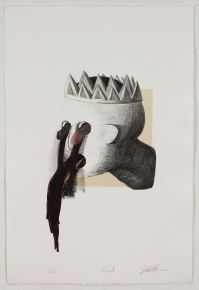 """""""Head,"""" by John DiDomenico. 15x22'' Lithograph with chine colle' and hand-coloring, limited edition of 12. $250."""