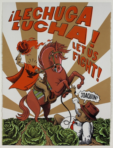 """Lechuga Lucha"" by Eric J. Garcia 22x30'' Lithograph & Screenprint Published by Hoofprint Editions"