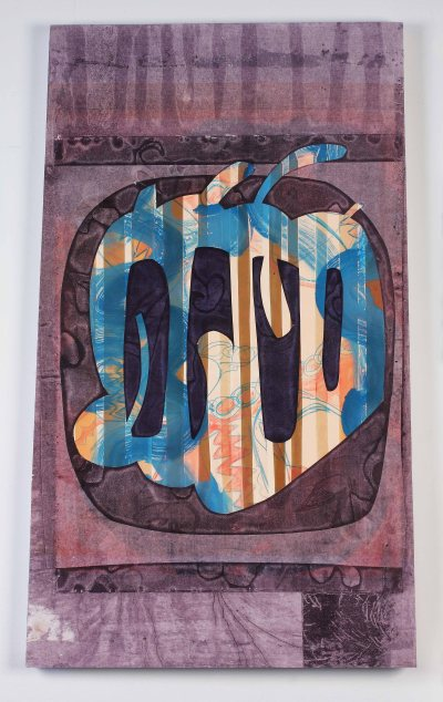 """""""Dying and Brilliant (hole in the day)"""" by Katherine Perryman. 25x41'' Monotype mounted on panel , Published at Hoofprint in 2016"""
