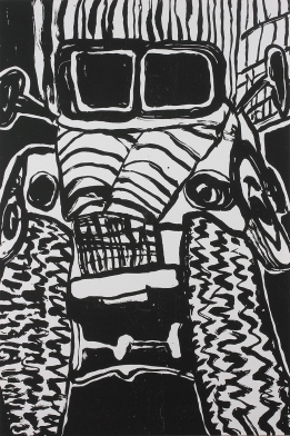 """""""The Ink Truck Is Here,"""" by John Himmelfarb. 40x60'' woodcut on canvas, Limited edition of 10. Published at Hoofprint in 2015. $1600."""