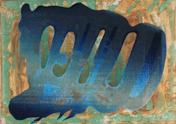 """""""Specter"""" by Katherine Perryman. 29x42' Monotype and Collograph mounted on panel, Published at Hoofprint in 2016"""