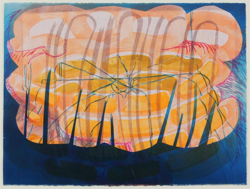 """""""Safety Concerns"""" by Katherine Perryman. 22x30'' Monotype on Paper, Published at Hoofprint in 2016"""