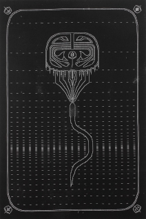 """""""----[ :]"""" by Brittany Keiler. 40x60'' woodcut on canvas, Published by Hoofprint and printed in a limited edition of 10. $600."""