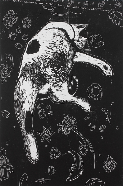 """""""Terrance,"""" by Ryan Quigley. 40x60'' woodcut on canvas, Published by Hoofprint and printed in a limited edition of 10. $500."""