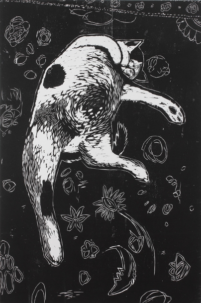 """Terrance,"" by Ryan Quigley. 40x60'' woodcut on canvas, Published by Hoofprint and printed in a limited edition of 10. $500."