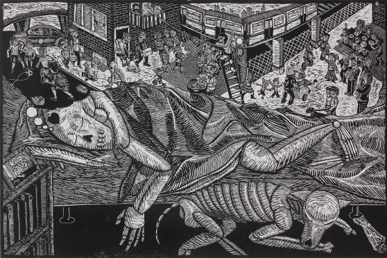 """Soñando con casa (Dreaming of Home)"" by Ricardo Xavier Serment Leyva. Woodcut, Edition of 10, 