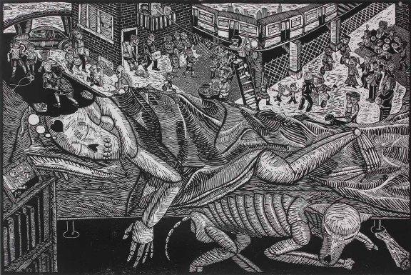 """""""Soñando con casa (Dreaming of Home)"""" by Ricardo Xavier Serment Leyva. Woodcut, Edition of 10, $800"""
