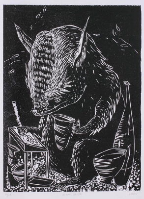 """Night Scribe,"" by Liz Born. 20x26'' woodcut, edition of 30, 2012."