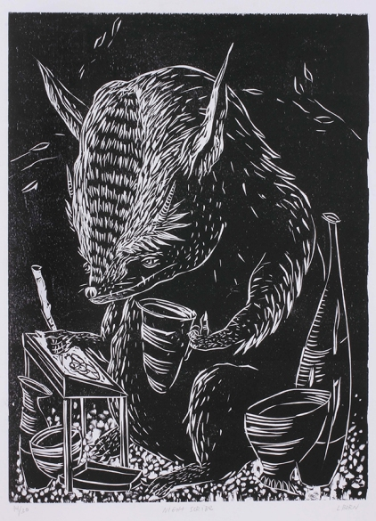 """Night Scribe,"" by Liz Born. 20x26'' woodcut, edition of 30, 2012."