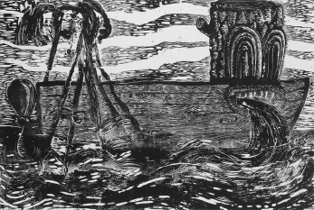 """""""Night Trawler: Stars and Stripes,"""" by Gabe Hoare. 40x60'' woodcut on canvas, limited edition of 10. $500."""