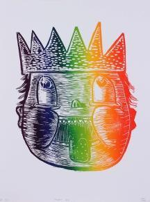 """Rainbow Kid,"" by Gabe Hoare. 18x24'' woodcut, 2013, $20."