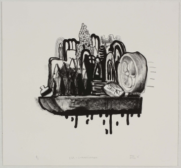 """""""S.S. Swampthumper"""" by Gabe Hoare Lithograph, edition of 6, $100."""