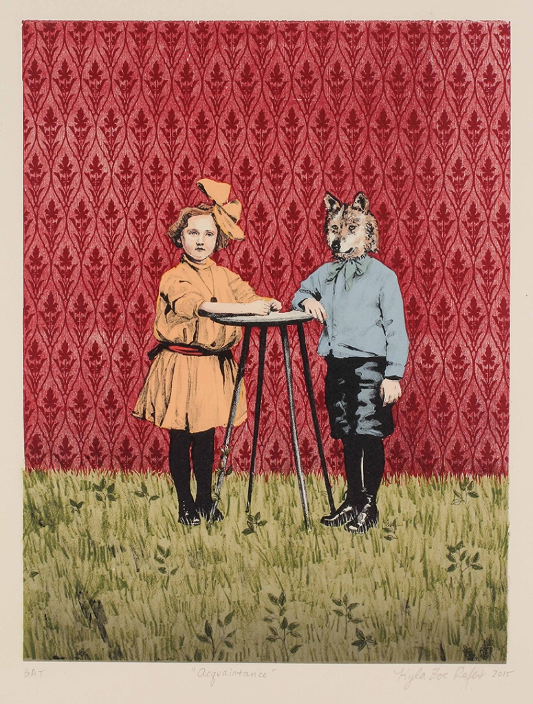"""Acquaintance,"" by Kyla Zoe Rafert. Lithograph with woodcut, screeprinting, and hand coloring, Edition of 20, $300. Published in 2016 by Hoofprint Editions."