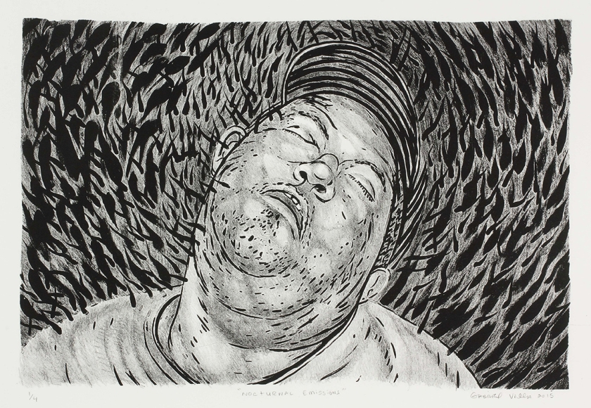"""Nocturnal Emissions"" Gabriel Villa Lithograph 22x29'' Edition of 4 $150 unframed/$250 framed"